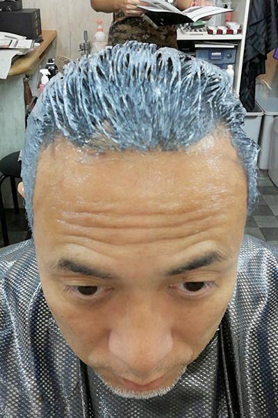 白髪染め新薬剤のテスト