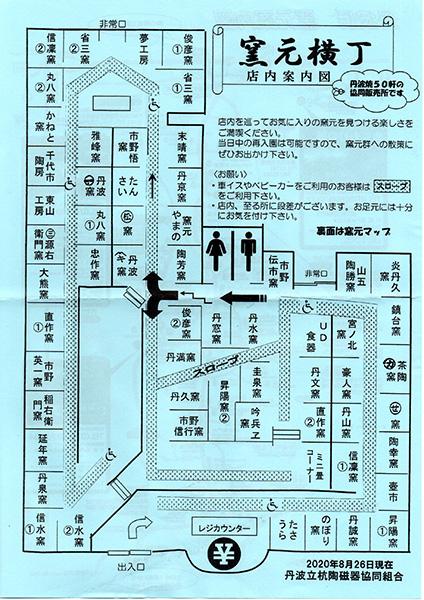 窯元横丁の中の案内図